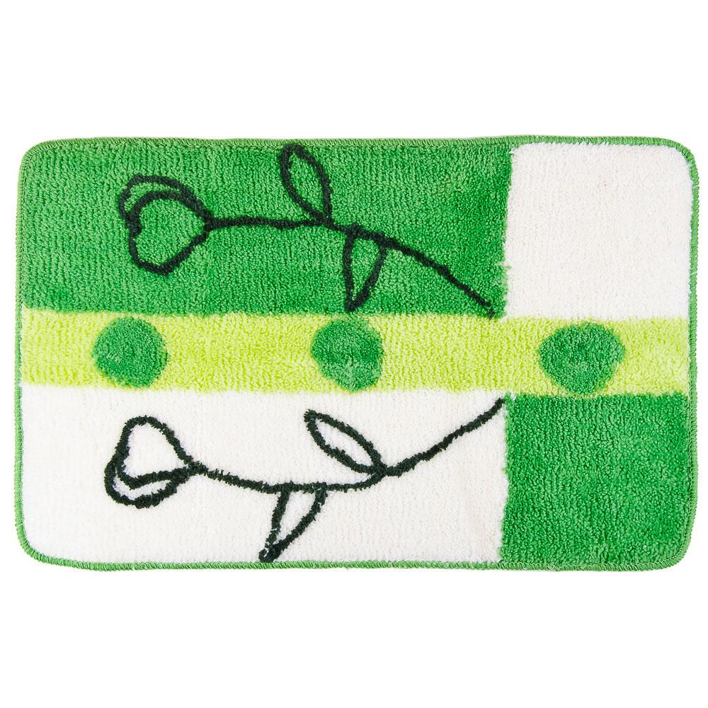 """VETTA Коврик для ванной, акрил, 50х80см, """"Зелень цветов"""", Дизайн GC"""