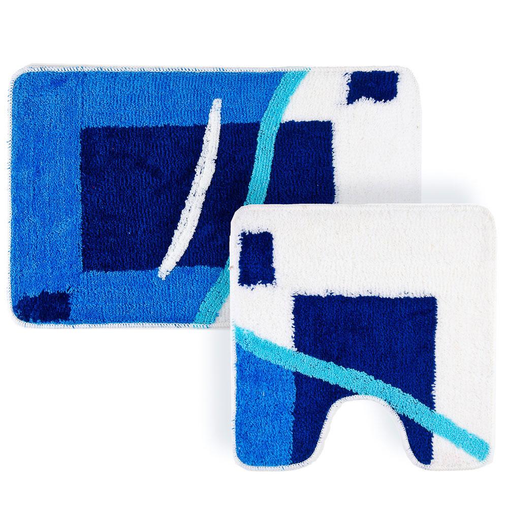 """VETTA Набор ковриков 2шт для ванной и туалета, акрил, 50x80см + 50x50см, """"Контраст"""" синий, Дизайн GC"""