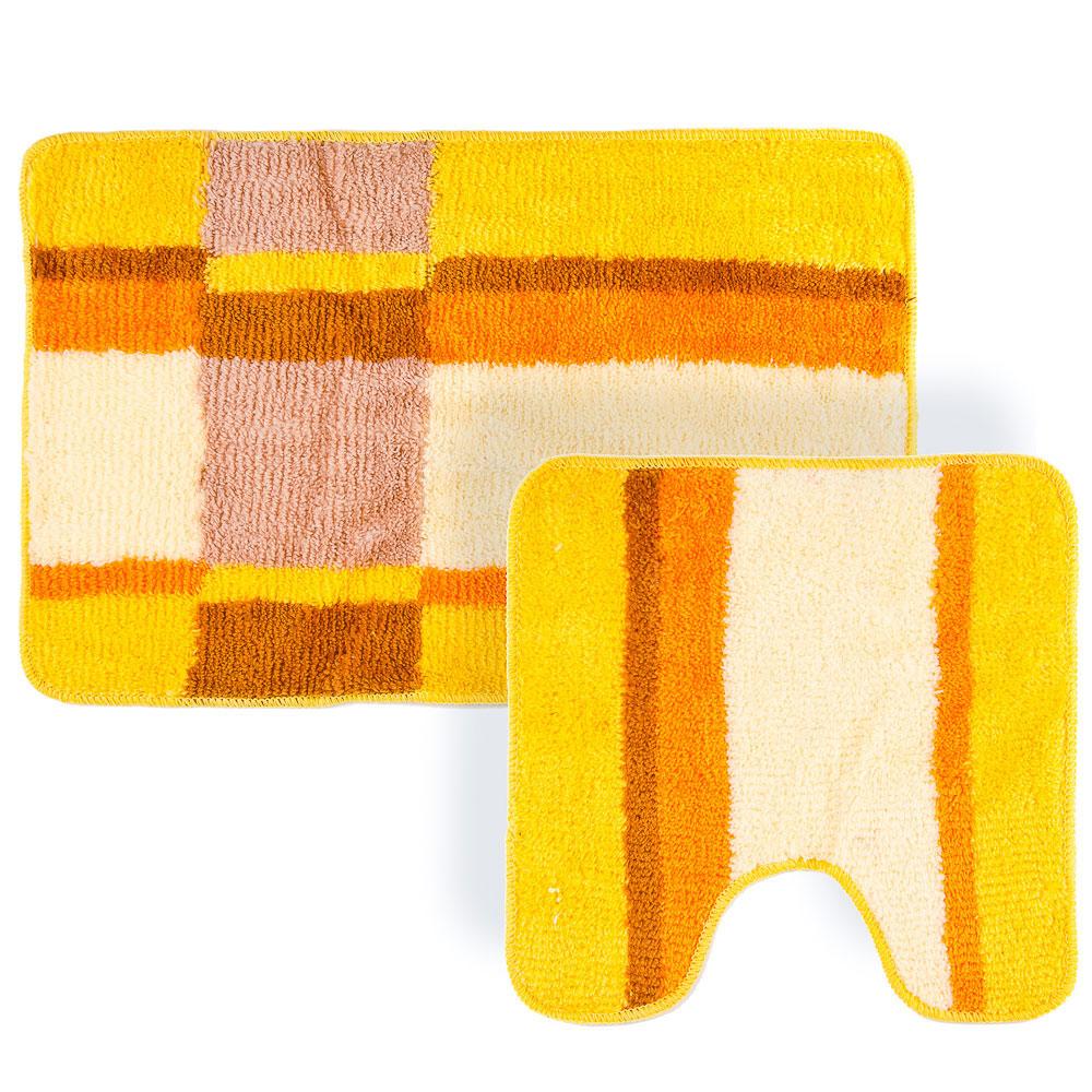 """VETTA Набор ковриков 2шт для ванной и туалета, акрил, 50х80см + 50х50см, """"Геометрия"""" оранжевый"""