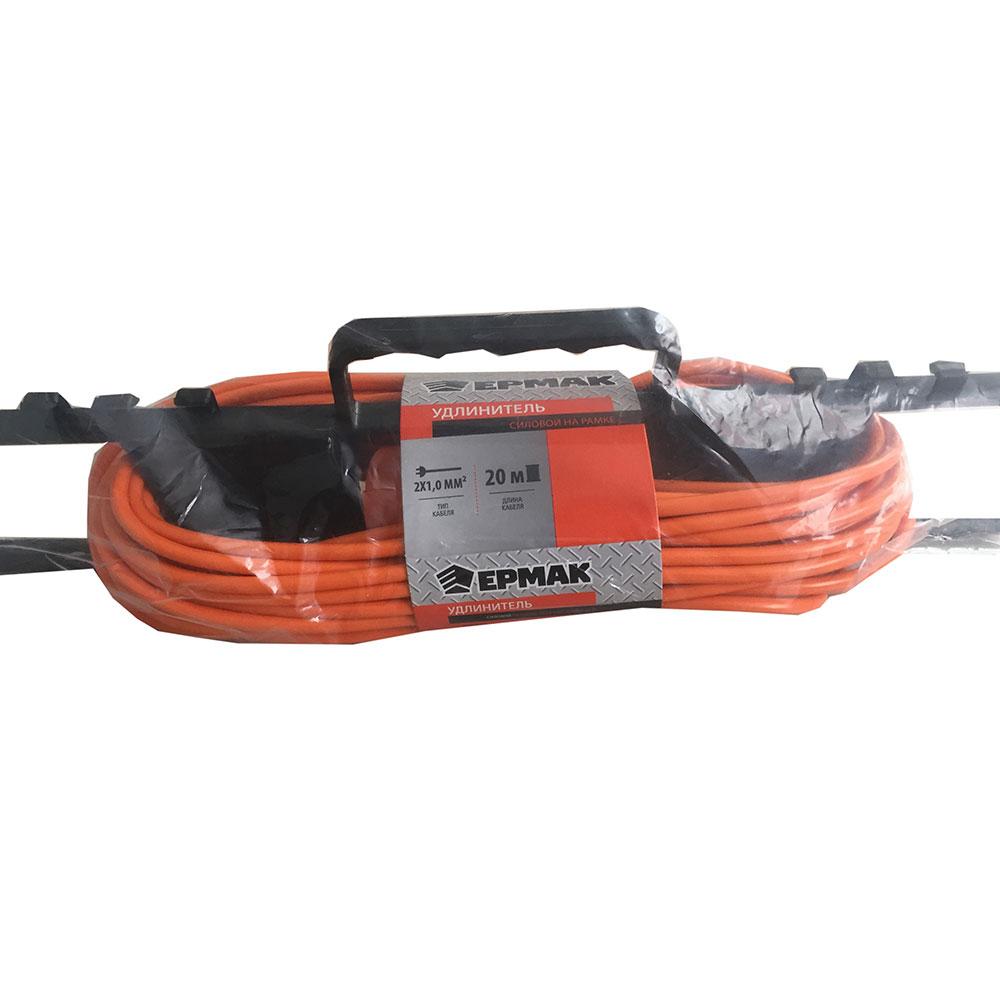 ЕРМАК Удлинитель силовой на рамке, 2х1,0мм2, 20м