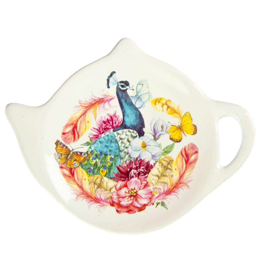 """Подставка для чайных пакетиков, керамика, 12x9,3x1,6см, 4 дизайна, """"Весеннее настроение"""""""