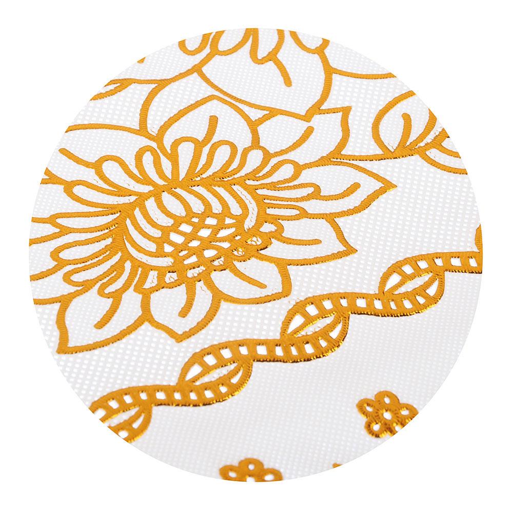 Салфетка ажурная на стол 30х45 см, ПВХ, бежевый/золото