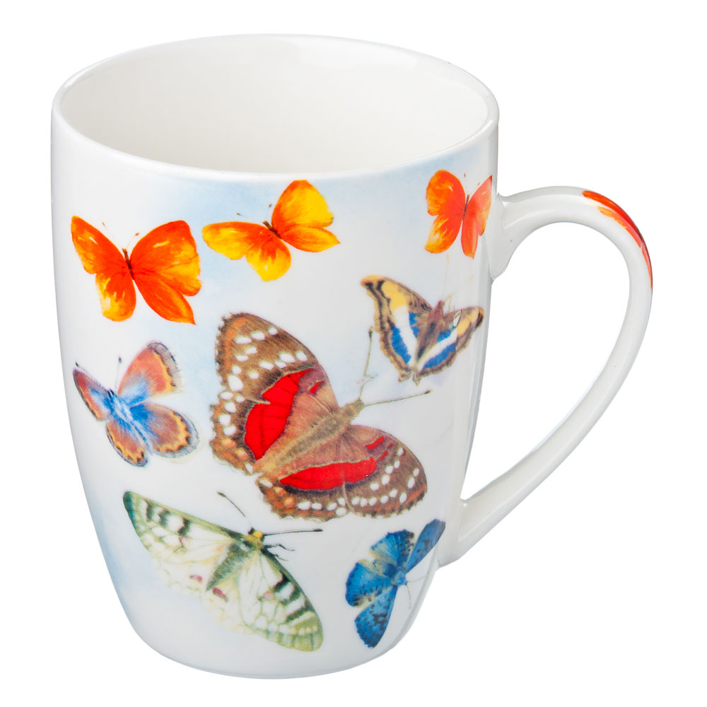 Кружка 350мл, фрф, Бабочки-1, 4 вида