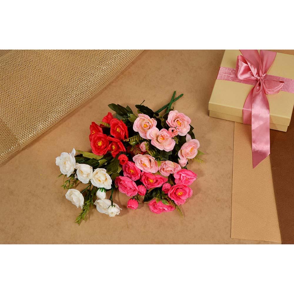 Цветок декоративный Розовая коллекция, букет в форме розы, пластик, полиэстер, 25-28 см,4цв, 1507-14