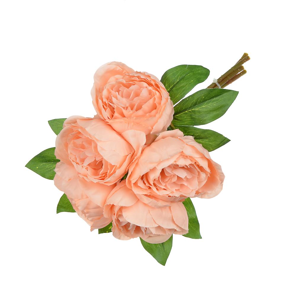 Цветок декорат. Цветочная коллекция, букет в форме пиона, пластик, полиэстер, 30 см, 5 цв, 1507-17