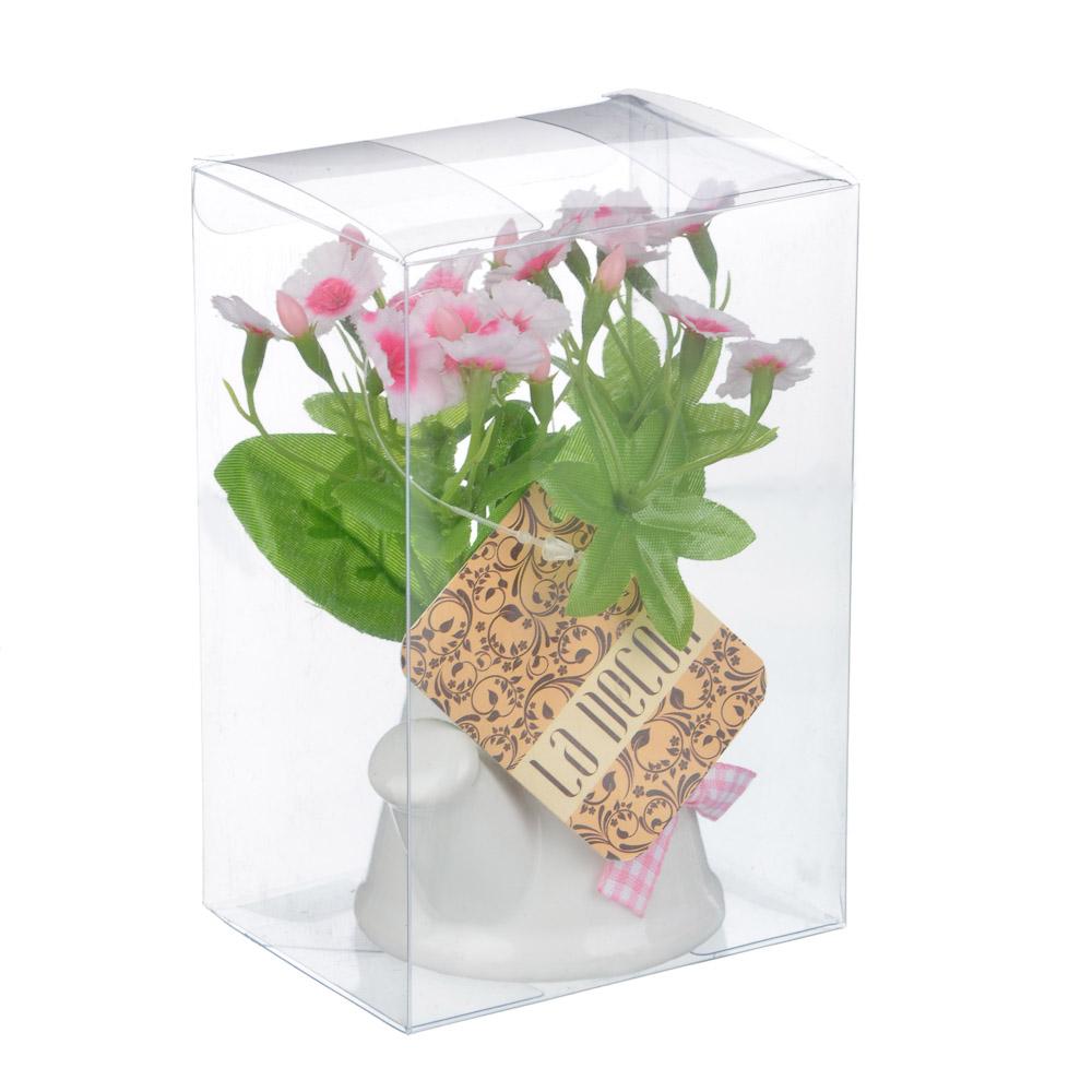 Цветок декорат. в керам. горшке Цветочная коллекция, пластик, полиэстер, 12х8х6 см,3 цв, 1507-15