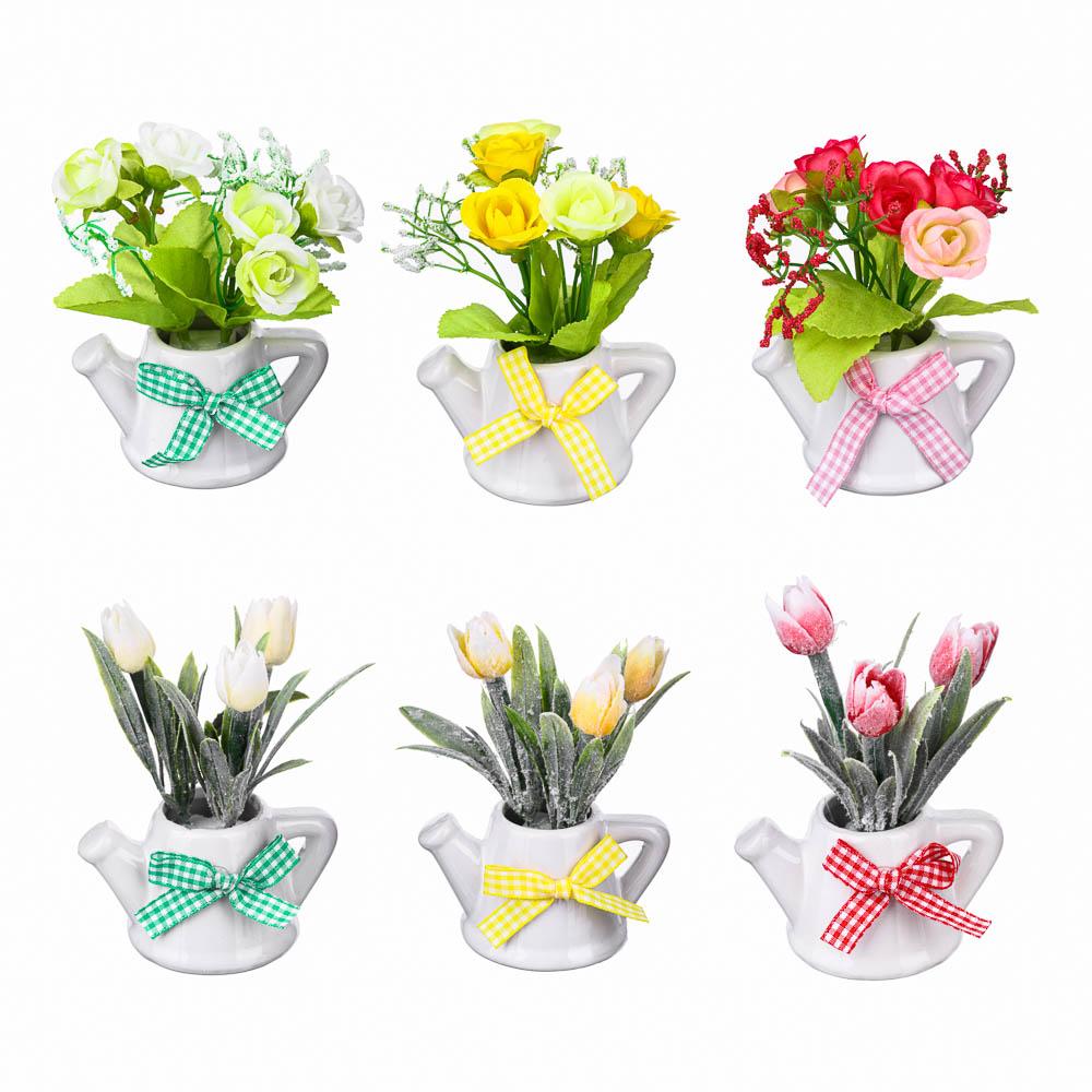 Цветок в горшке Цветочная коллекция, в виде тюльпанов, пластик, полиэстер, 12х8х6 см, 3 цв, 1507-16
