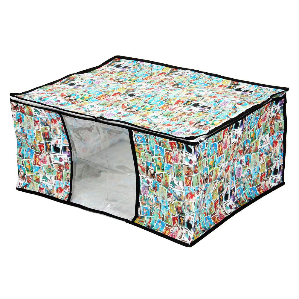 "VETTA Чехол-кофр для хранения подушек и одеял ""Марки"", спанбонд влагостойкий, 60x45x30см"