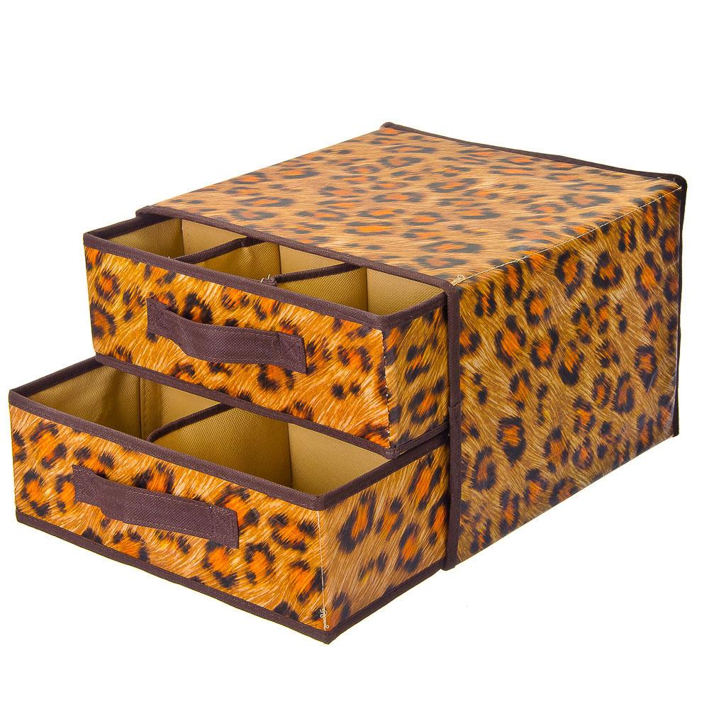VETTA Кофр-короб жесткий 2-ярусный с рисунком леопард, спанбонд влагостойкий, 30х30х23см