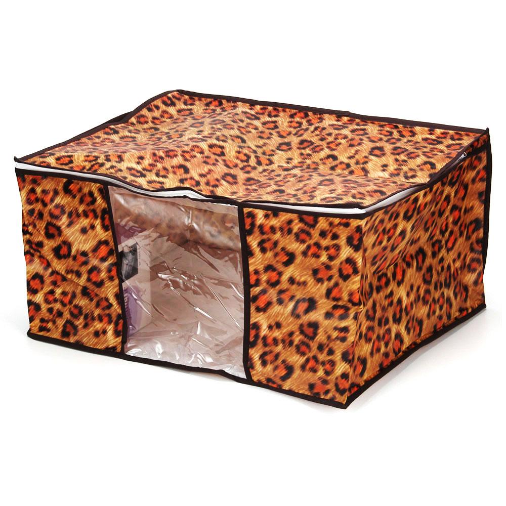VETTA Чехол-кофр для хранения подушек и одеял с рисунком леопард, спанбонд влагостойкий, 60x45x30см