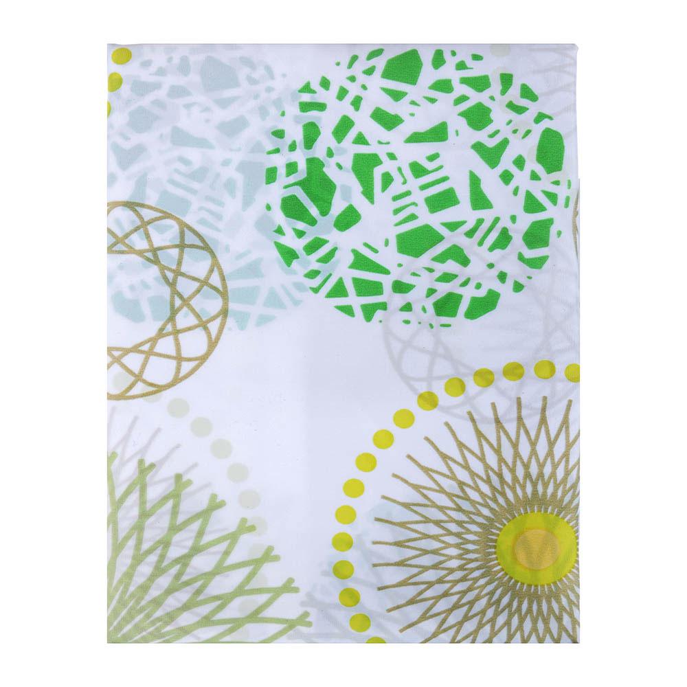 """VETTA Шторка для ванной, ткань полиэстер с утяжелит, 180x180см, """"Зелёные круги"""""""
