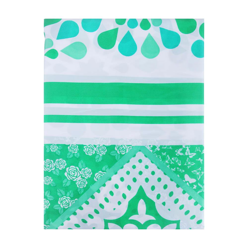 """VETTA Шторка для ванной, ткань полиэстер с утяжелит, 180x180см, """"Зелёная ажурная"""", Дизайн GC"""
