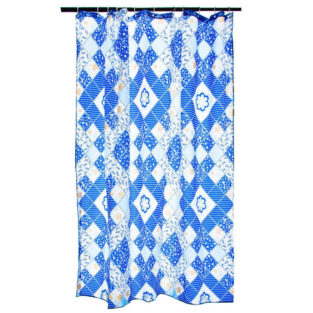 """VETTA Шторка для ванной, ткань полиэстер с утяжелит, 180x180см, """"Синие ромбы"""", Дизайн GC"""