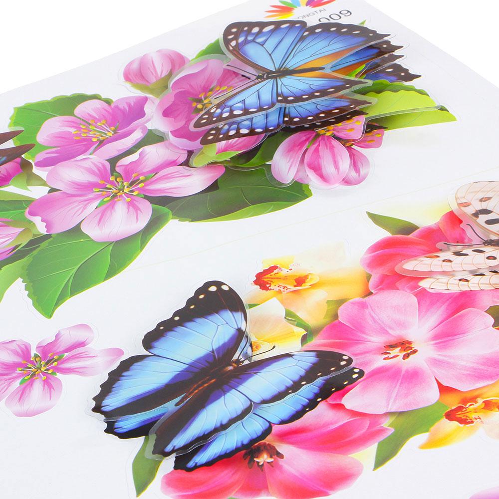 Наклейка интерьерная, ПВХ, 54,5х24см, с цветами и бабочками, 2 дизайна, арт.19-07-5