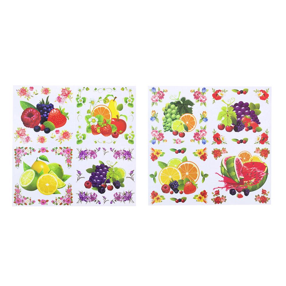 Наклейка интерьерная, ПВХ, 28х29см, с фруктами, 8 дизайнов, арт.19-07-7