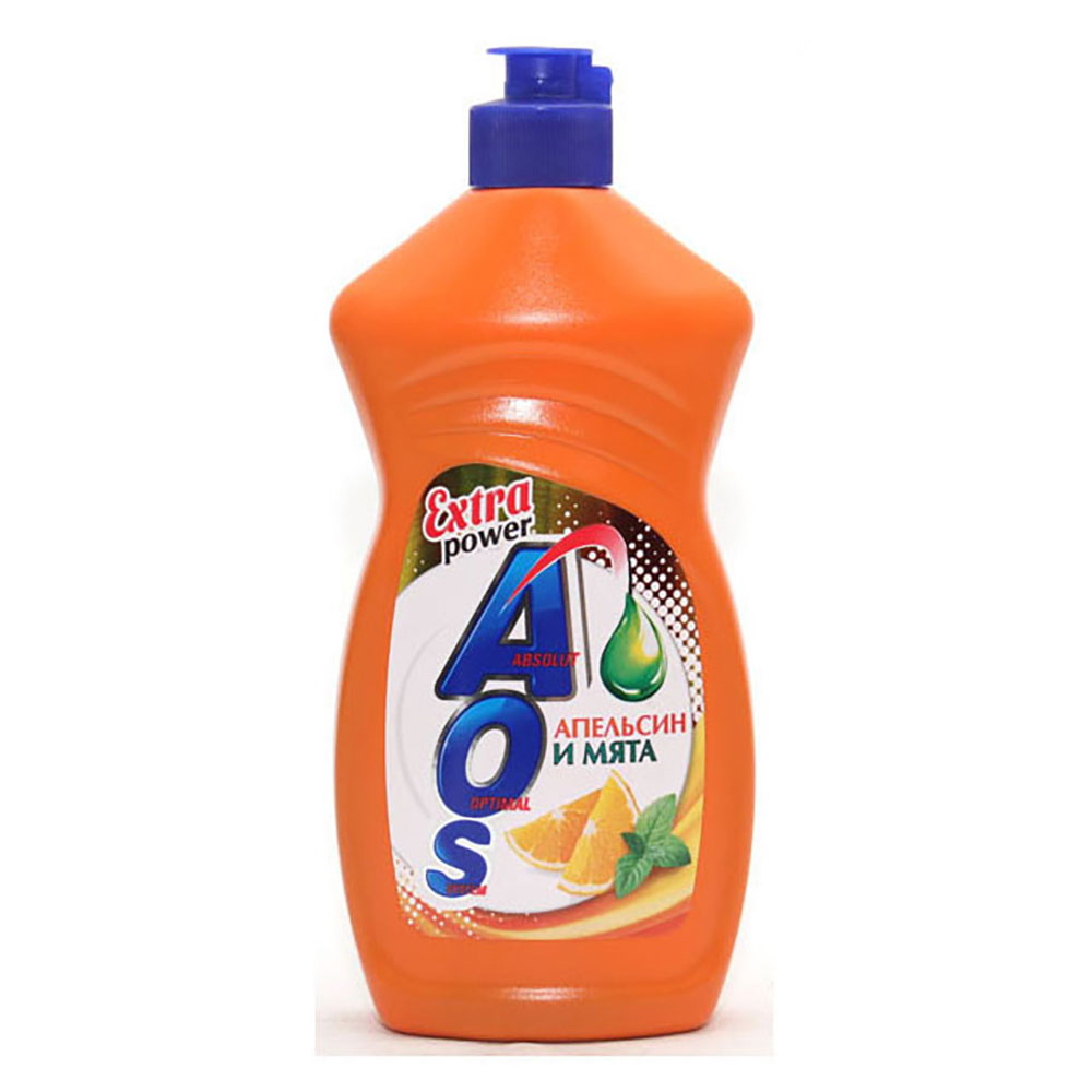 Средство для мытья посуды AOS Бальзам Алоэ Вера/Апельсин и мята п/б 450г арт.11103/1108-3/1112-3