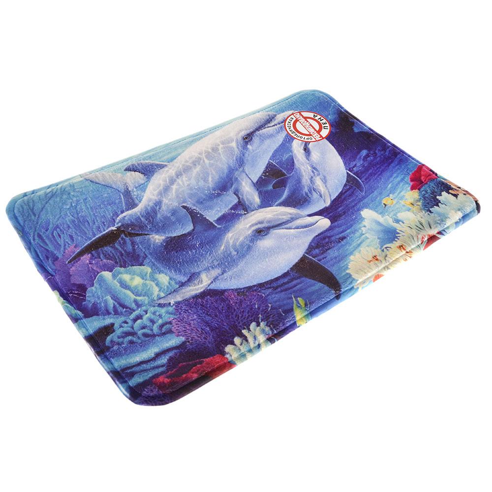"""VETTA Коврик для ванной флис, принт, ортопедическая пена 1,2см, 40x60см, """"Дельфины"""""""