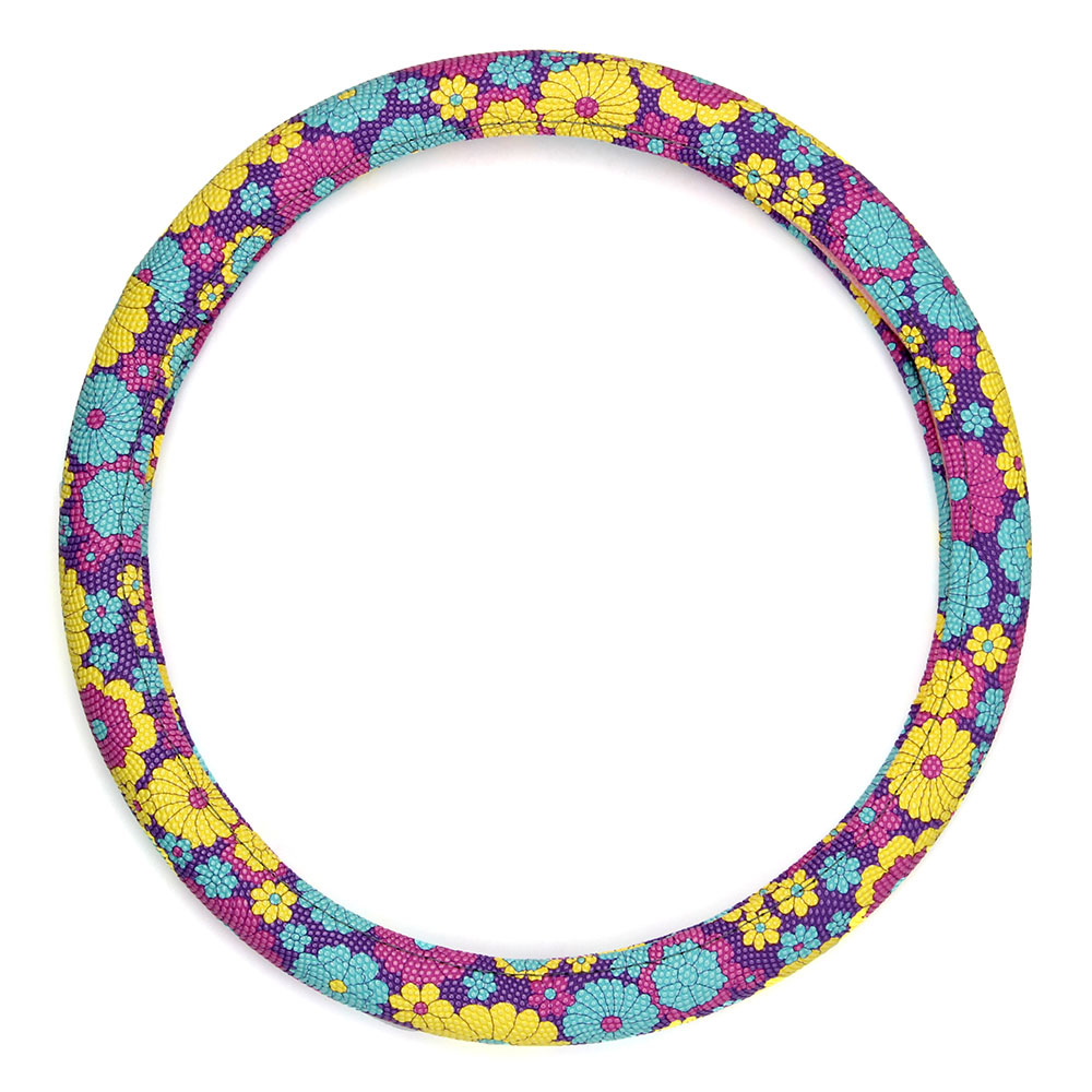 NEW GALAXY Оплетка руля, Цветы, пестрый/синий, разм. (М)