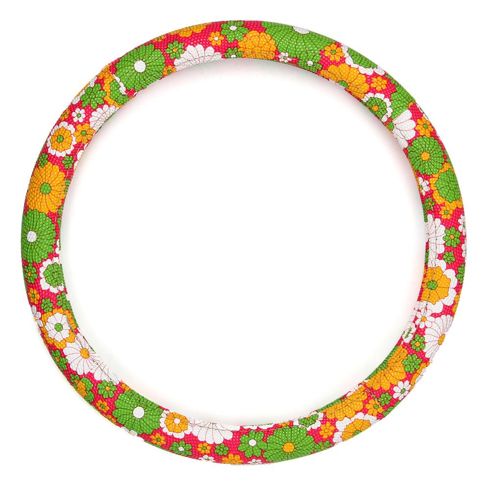 NEW GALAXY Оплетка руля, Цветы, пестрый/зеленый, разм. (М)