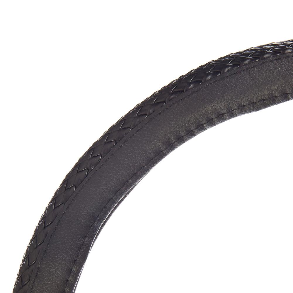 NEW GALAXY Оплетка руля экокожа, плетёные вставки, черный, разм. (М)
