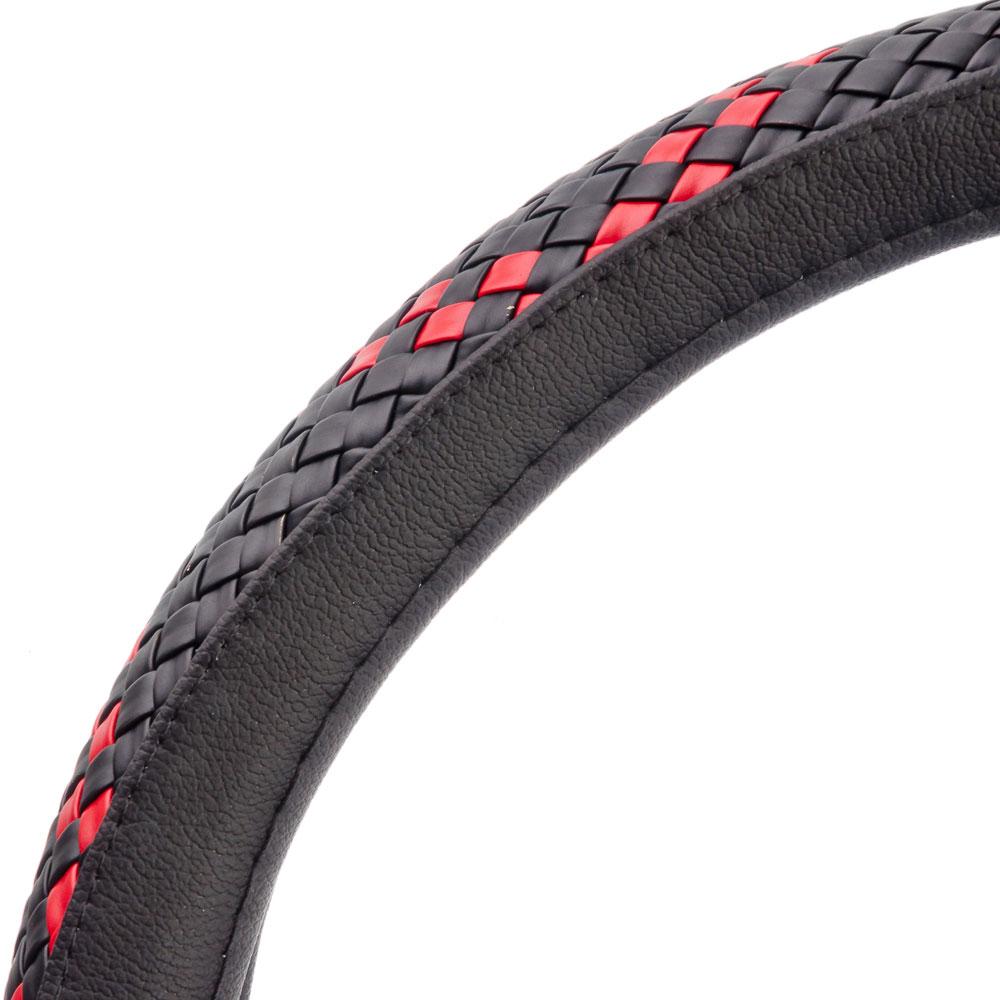 NEW GALAXY Оплетка руля экокожа, плетёные вставки, черный/красный, разм. (М)
