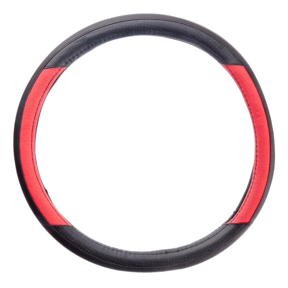 NEW GALAXY Оплетка руля экокожа, черный/красный, разм. (М)