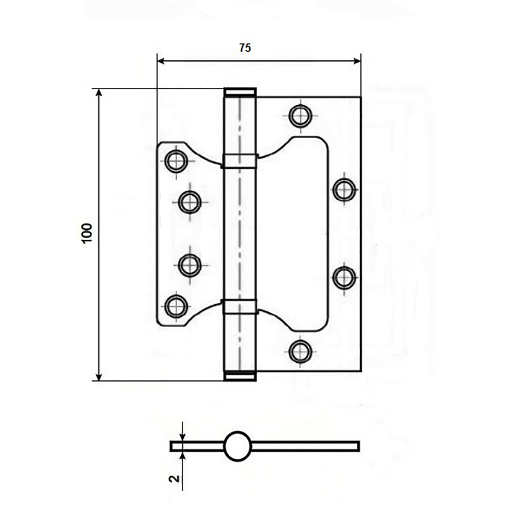 KORAL Петля накладная (БЕЗ ВРЕЗКИ) 4x3x2 ac, медь