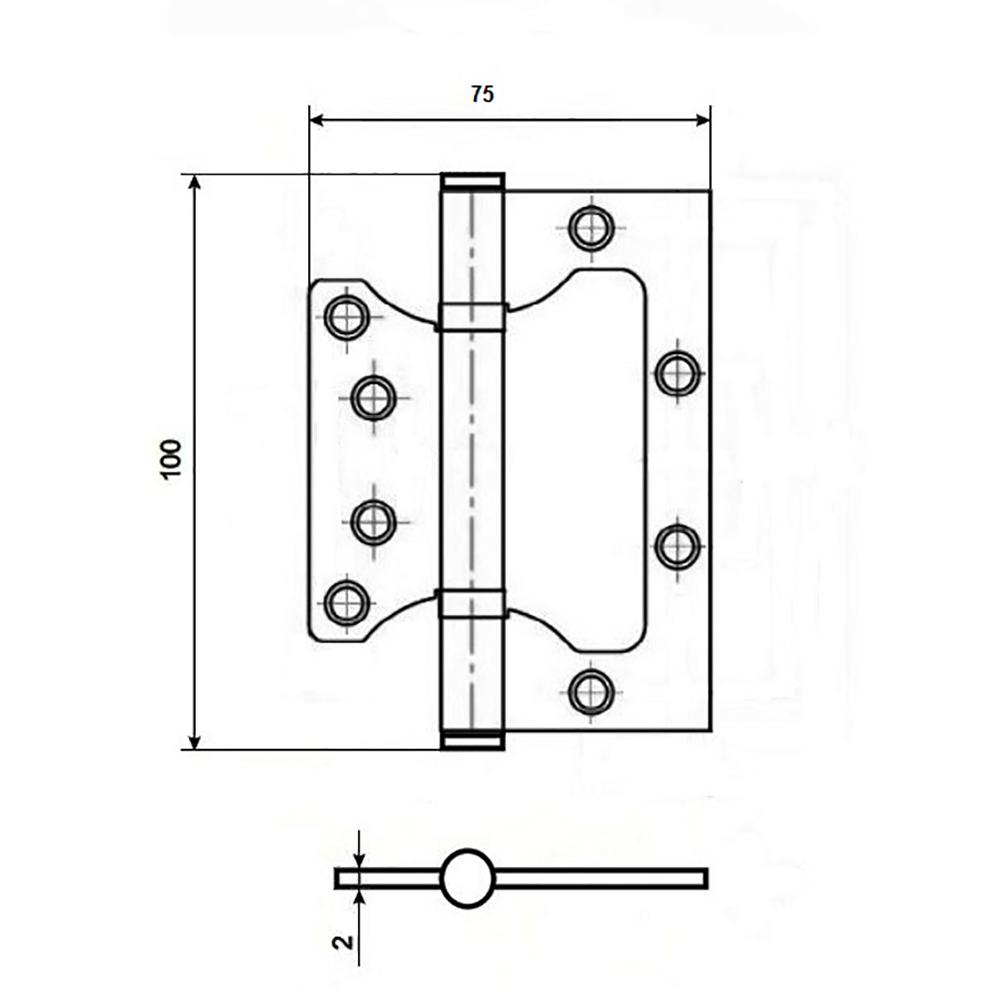 KORAL Петля накладная (БЕЗ ВРЕЗКИ) 4x3x2 ab, бронза
