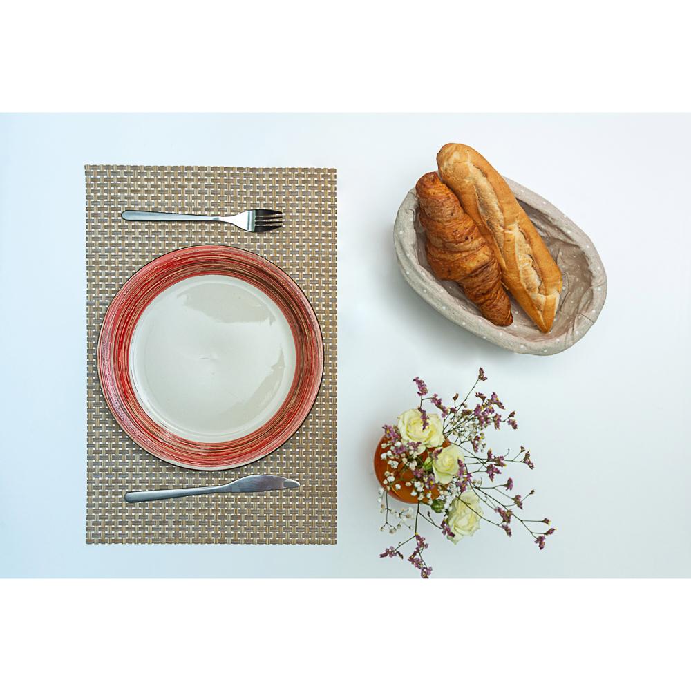 Салфетка сервировочная, крупноплетеный ПВХ, 30x45см, серые оттенки, 3 цвета