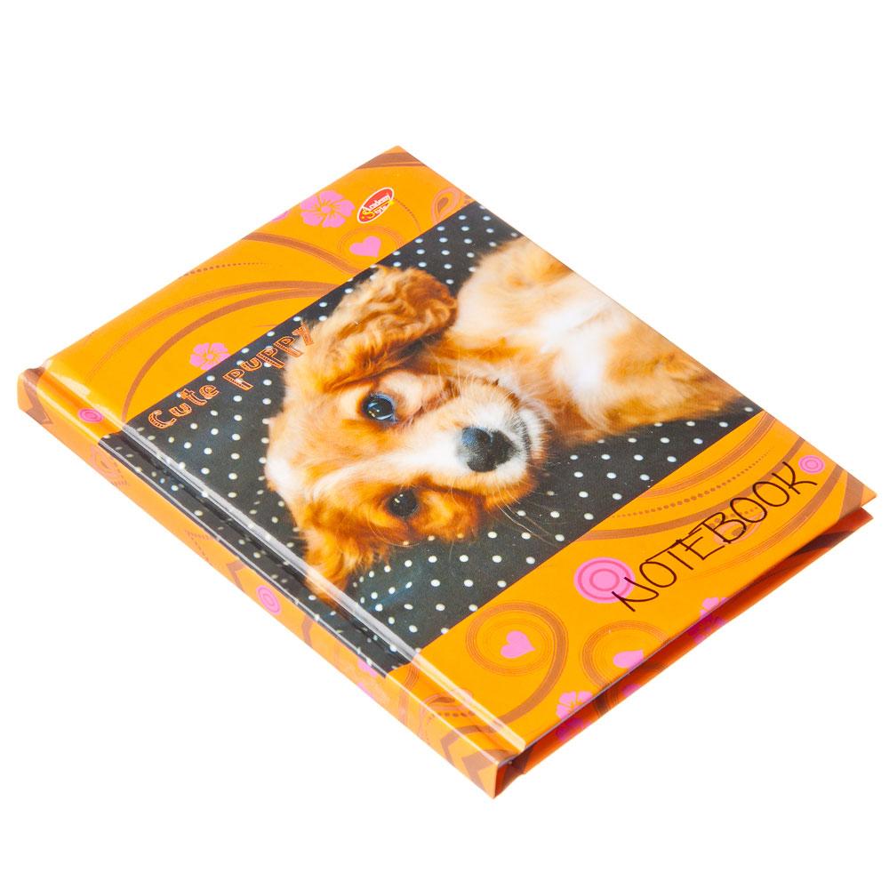Блокнот 80л 7БЦ А6 (100*140) 6430-EAC глянц лам Щенок на оранжевом