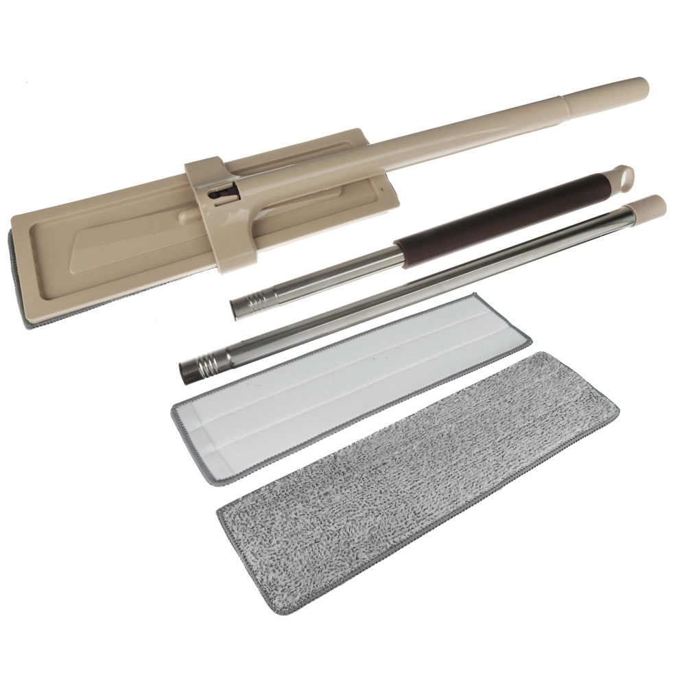 VETTA Швабра 360° съемная с отжимом и щеткой для чистки доп.насадка 36см 128см нерж.сталь пластик