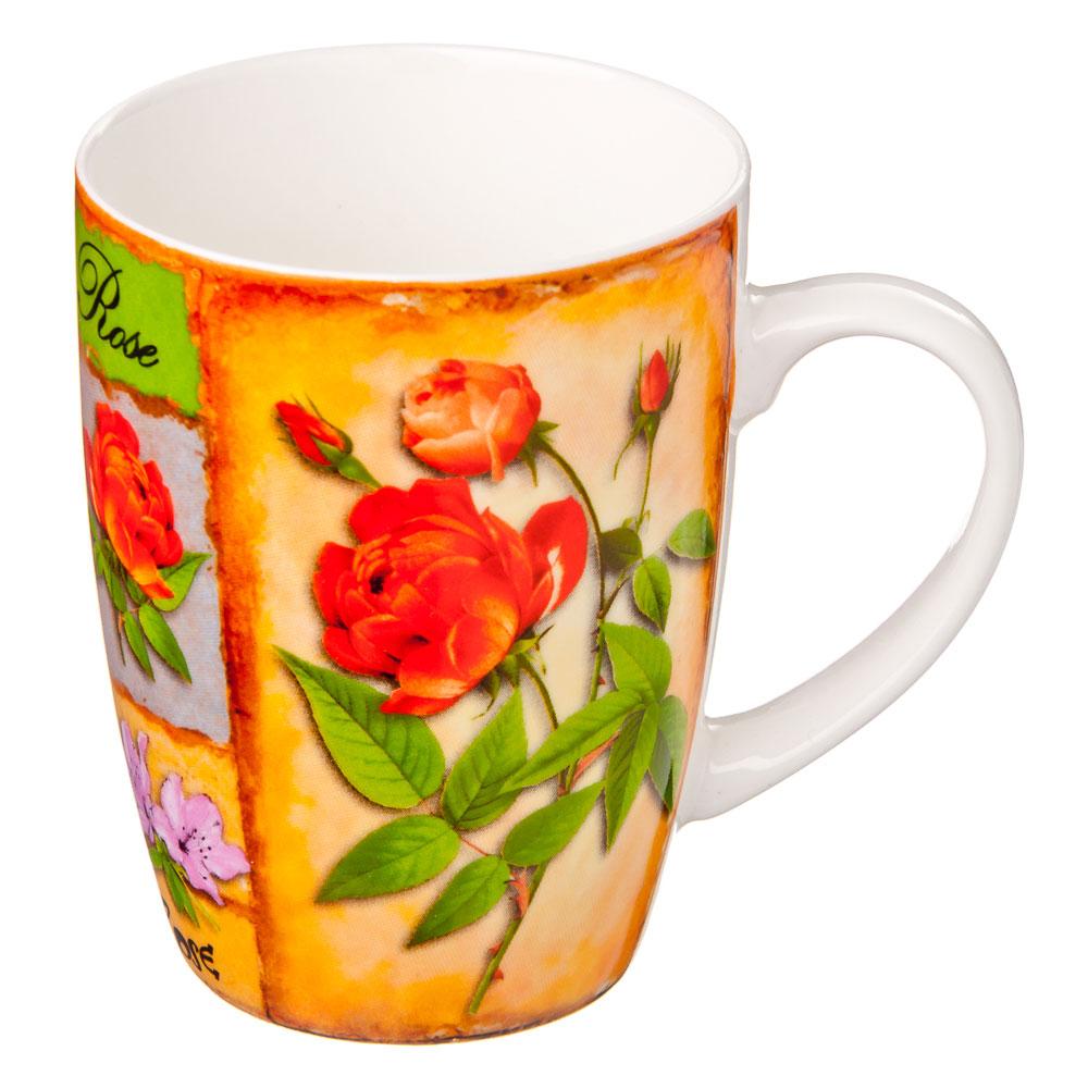 """Кружка 350мл, фрф, """"Розы"""", 4 цвета"""