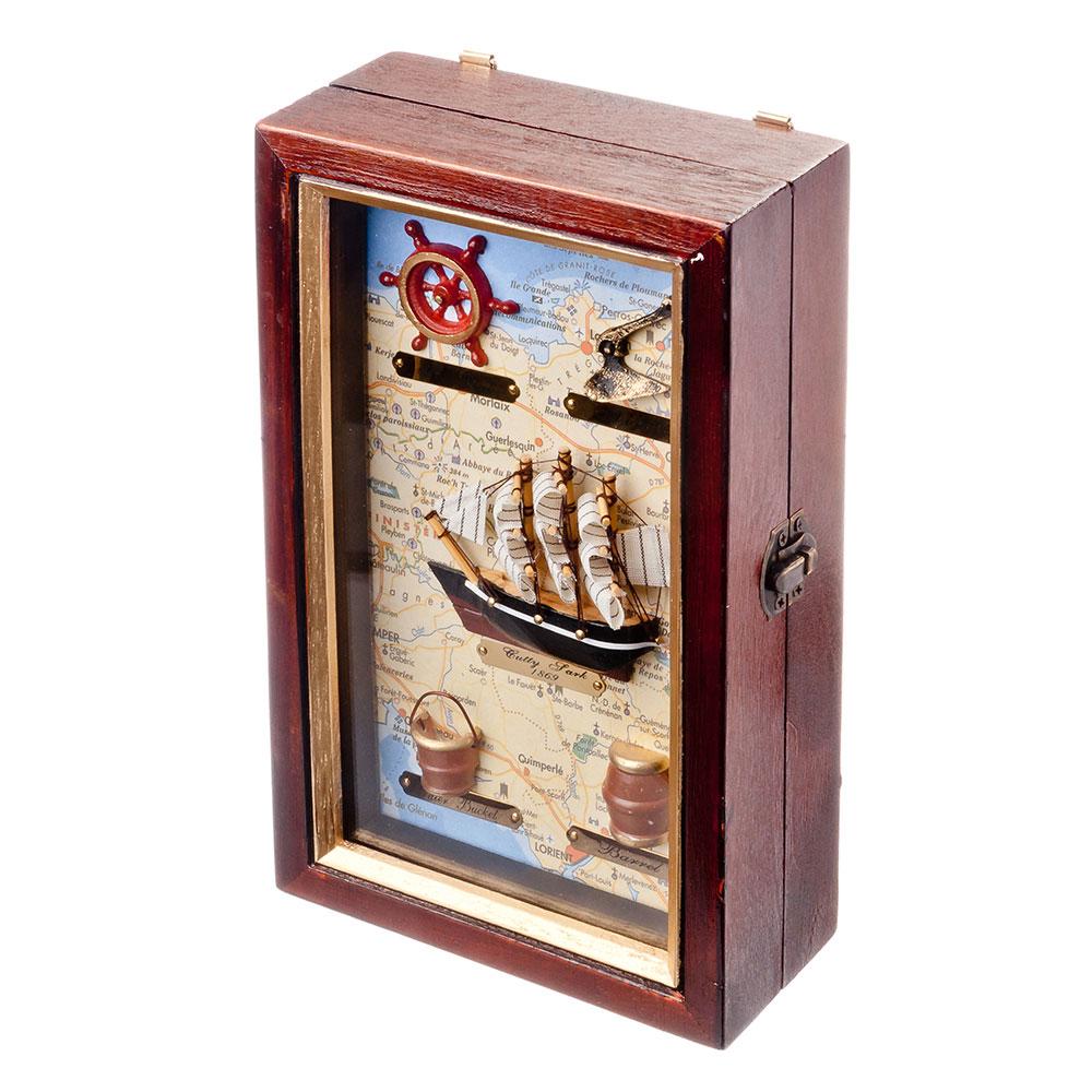Ключница декоративная на 4 крючка, дерево, стекло, 25х15х7см, с изображением корабля, арт.08-07