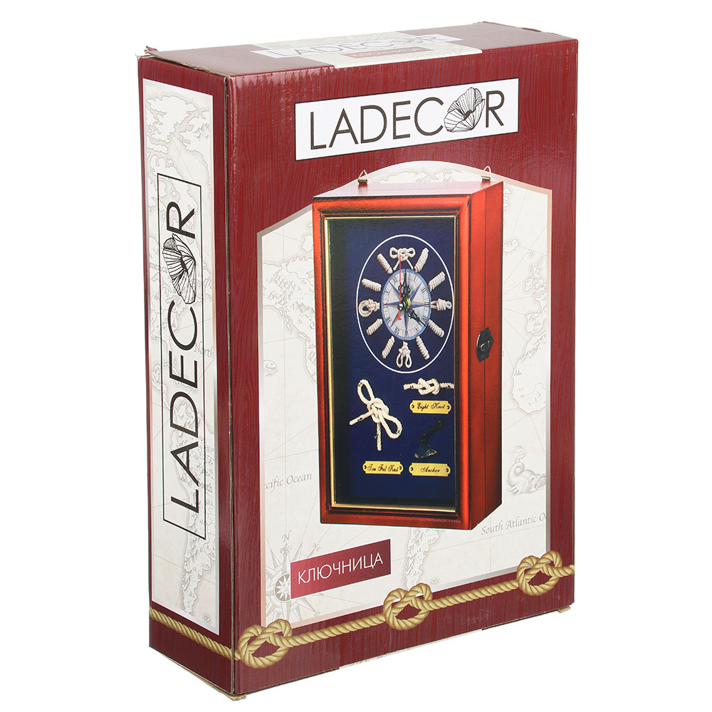 LA DECOR Ключница декоративная на 6 крючков, дерево, стекло, 30х20х7см, арт.08-08
