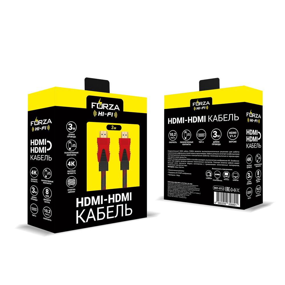 FORZA Кабель HDMI-HDMI 1,4, 10,2 Гбит/с, 3м, медь