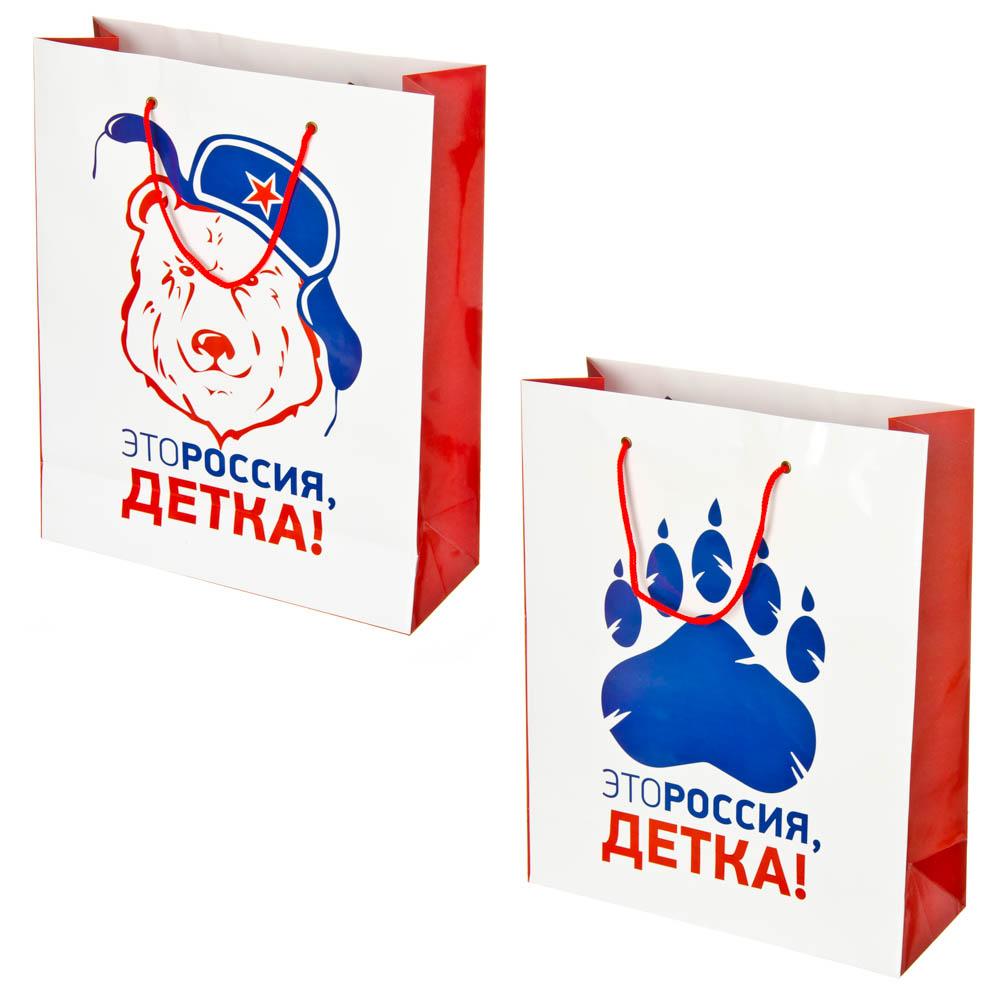 """Пакет подарочный бумажный """"Это Россия, детка!"""" 33х26х16,5см, Дизайн GC"""