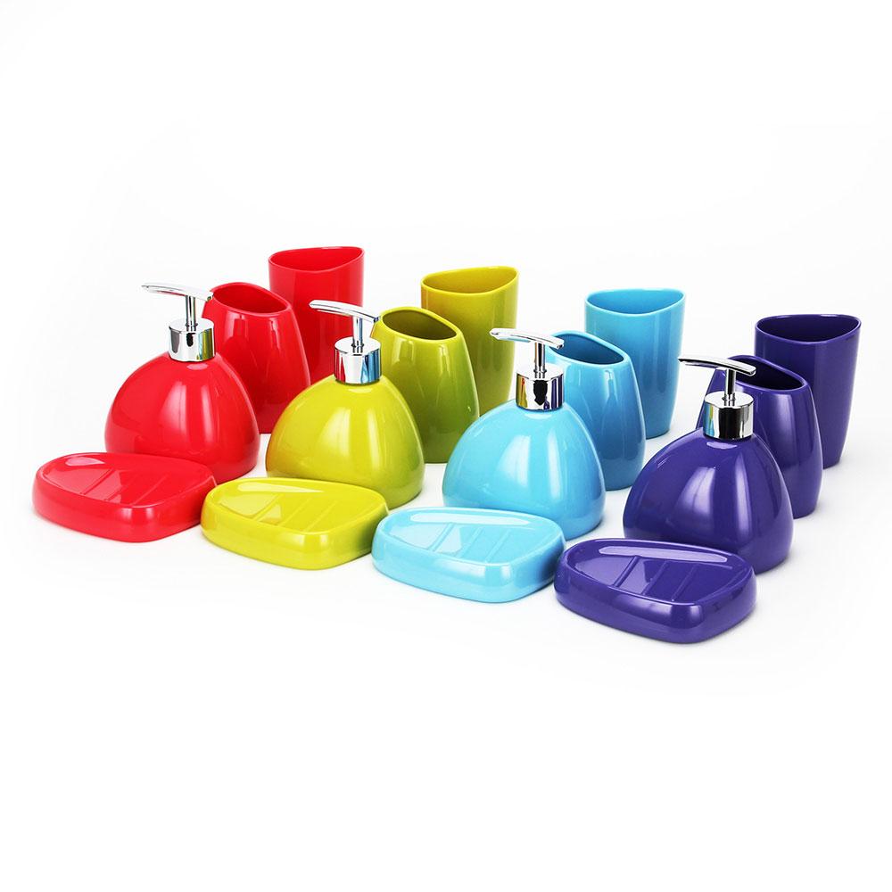 Набор для ванной 4 предмета, акрил, 4 цвета