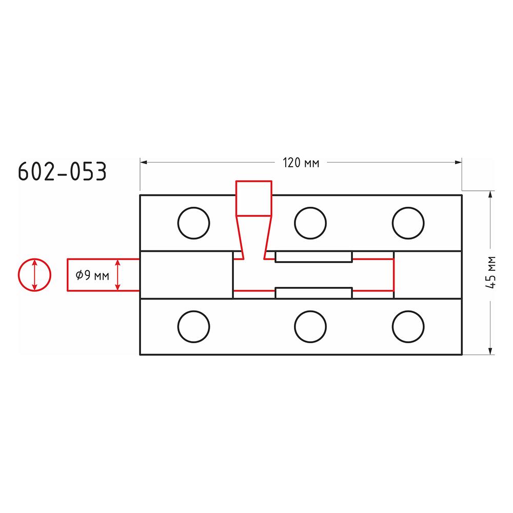 Засов дверной, сталь, ЗД-120х45мм (d9мм), покрытие белый цинк