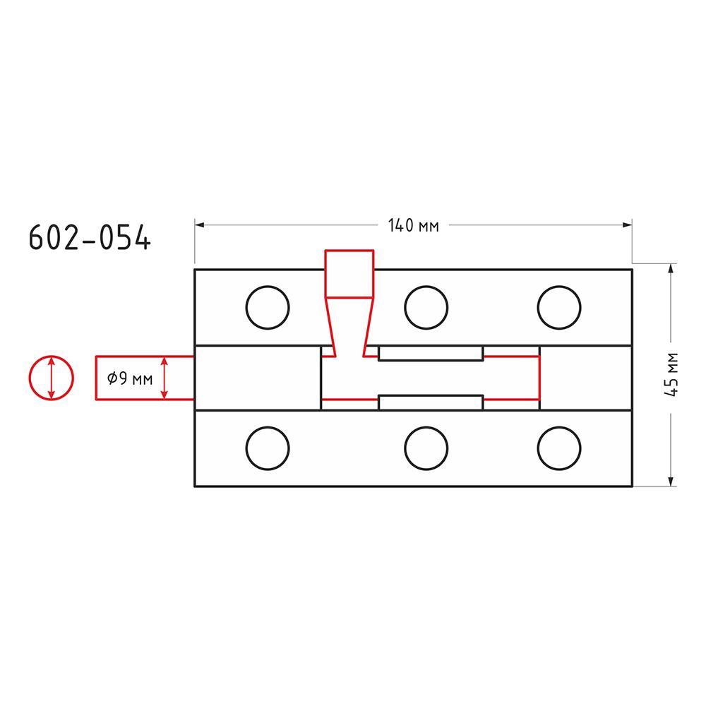 Засов дверной, сталь, ЗД-140х45мм (d9мм), покрытие белый цинк
