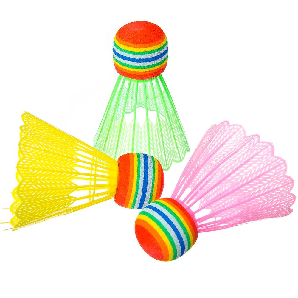Набор детских воланов, 3шт, ПВХ, цветные, в пакете, 2114-3