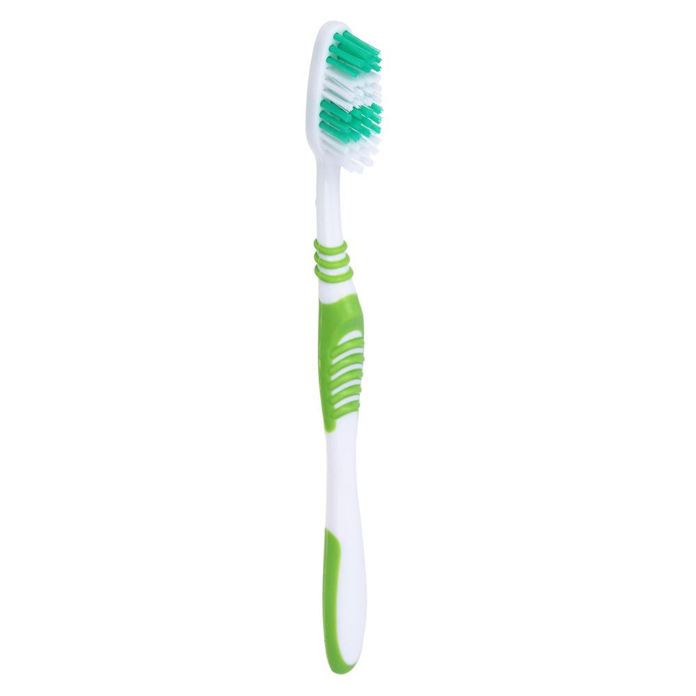 Зубная щетка 1+1 с тонкой щетиной, средней жесткости, пластик/резина, индекс жесткости 5