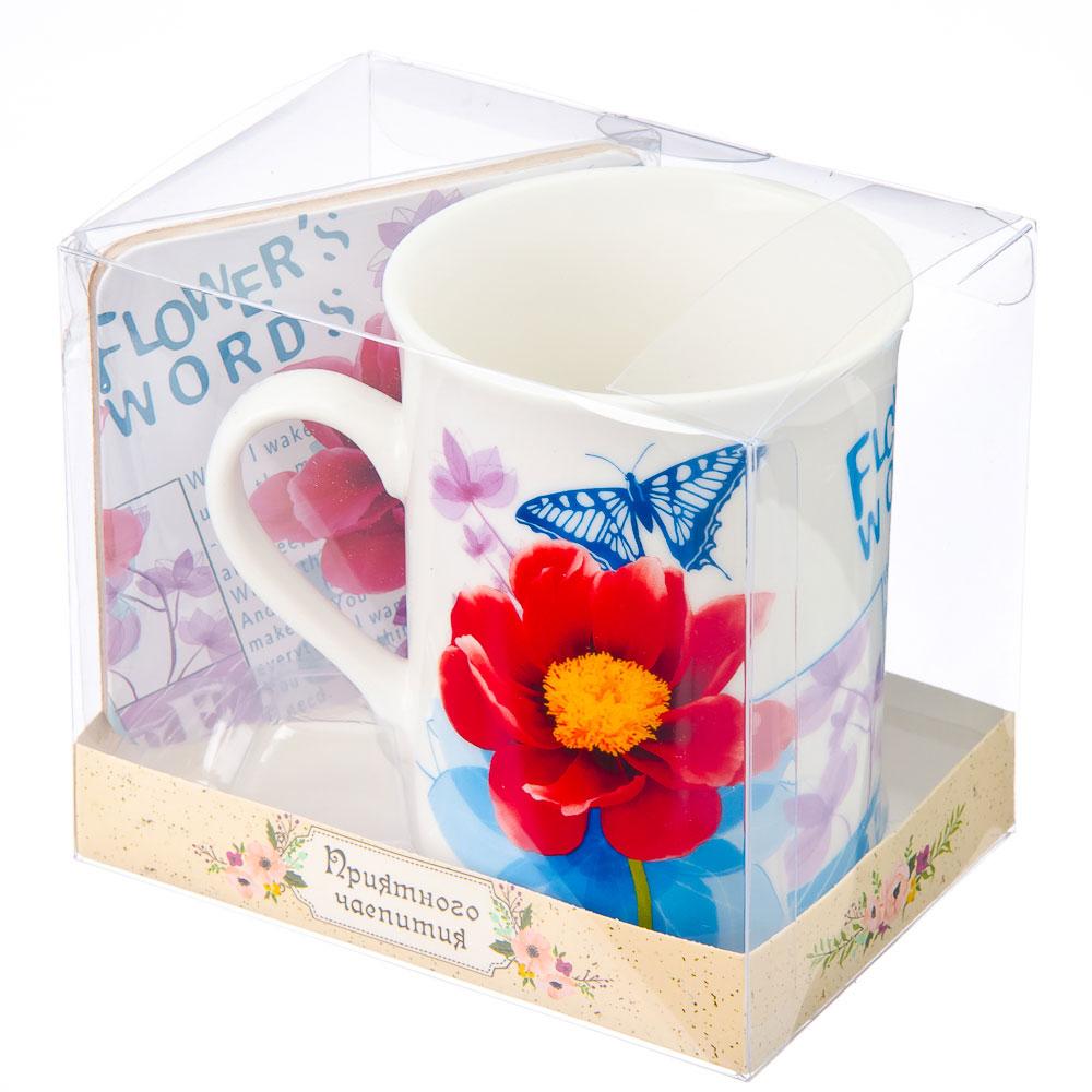 """Набор чайный 2 пр. кружка 280мл с подставкой, """"Весеннее цветение"""" фрф, подар.уп"""