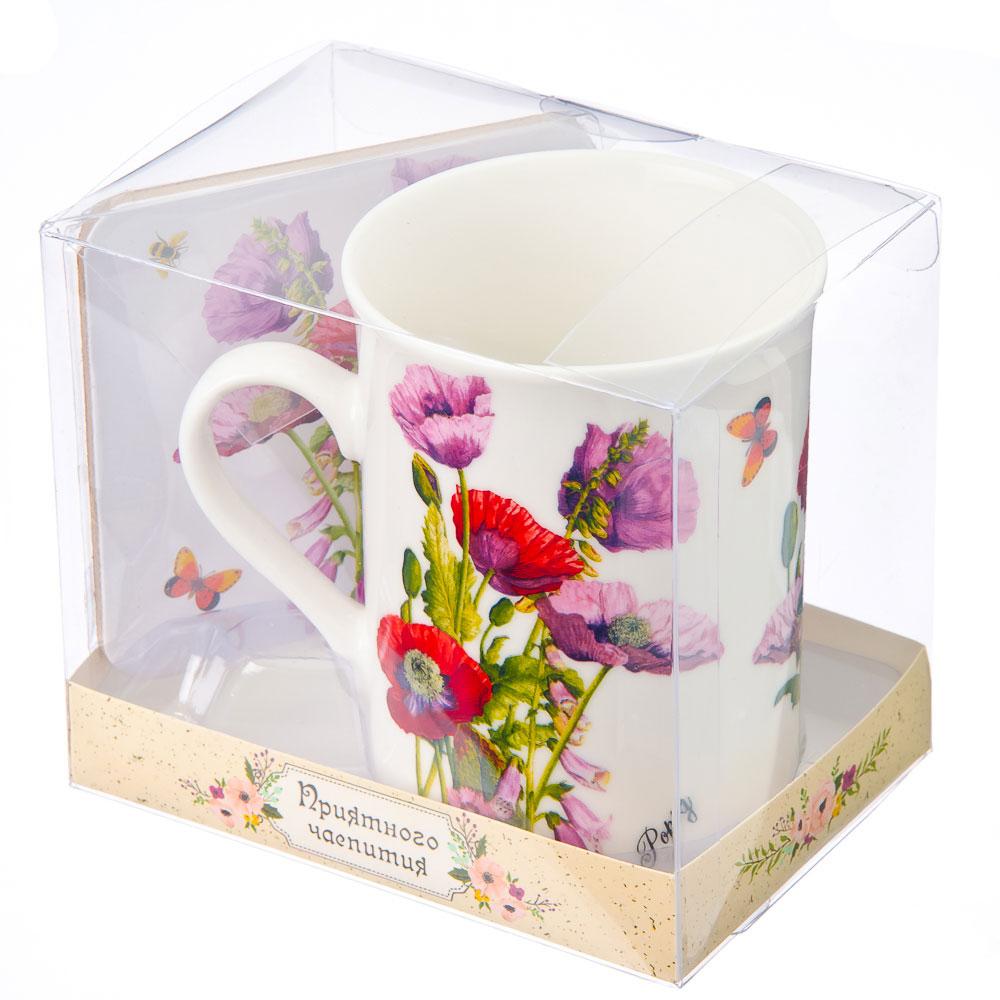 """Набор чайный 2 пр. кружка 280мл с подставкой, """"Цветы в подарок"""" фрф, подар.уп"""