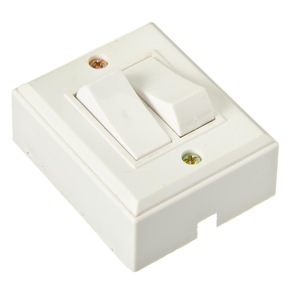 Выключатель накладной, двухклавишный, 10А 220В, пластик