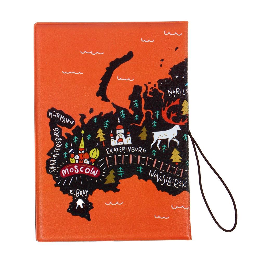 PAVO Обложка для паспорта с удерживающей резинкой, с отд. для вод.удостов, ПВХ, 13,7х9,6см, 6диз