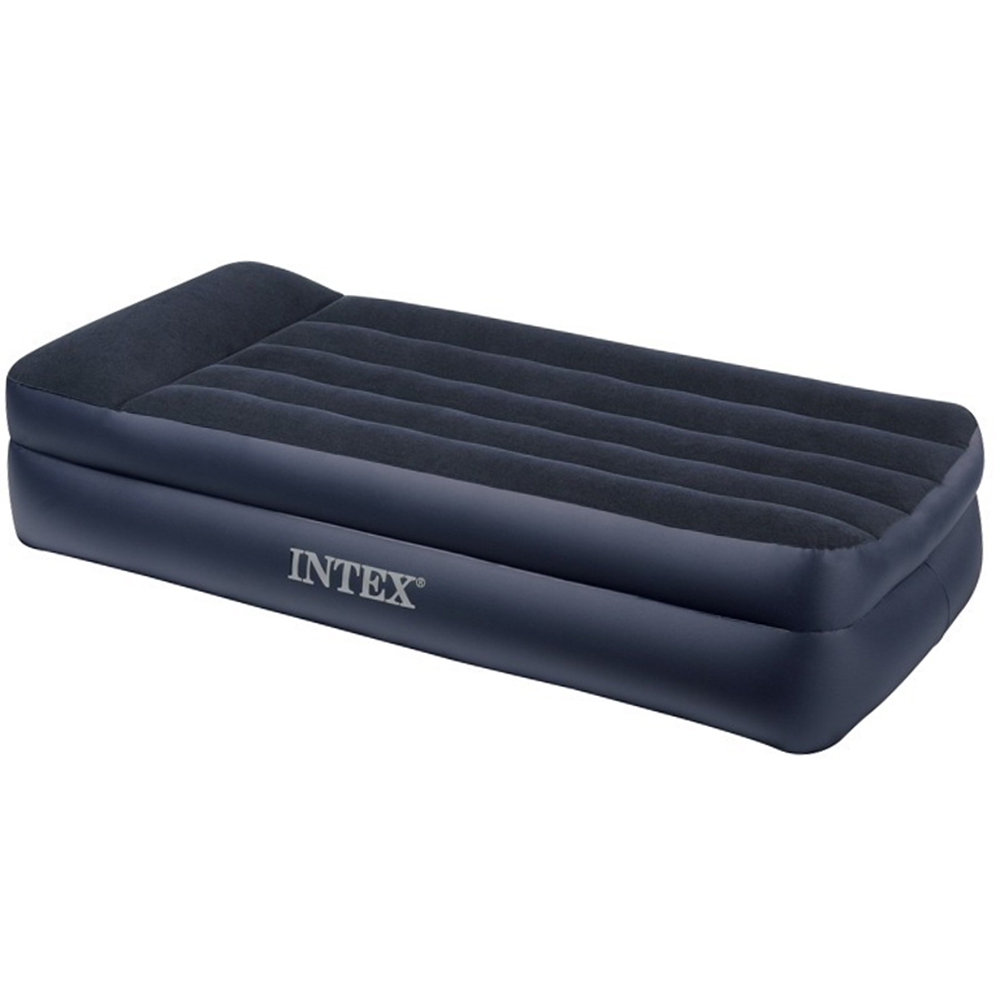 """Кровать флок с высоким подголовником, 152х203х42 см, INTEX """"Квин"""", 64124"""