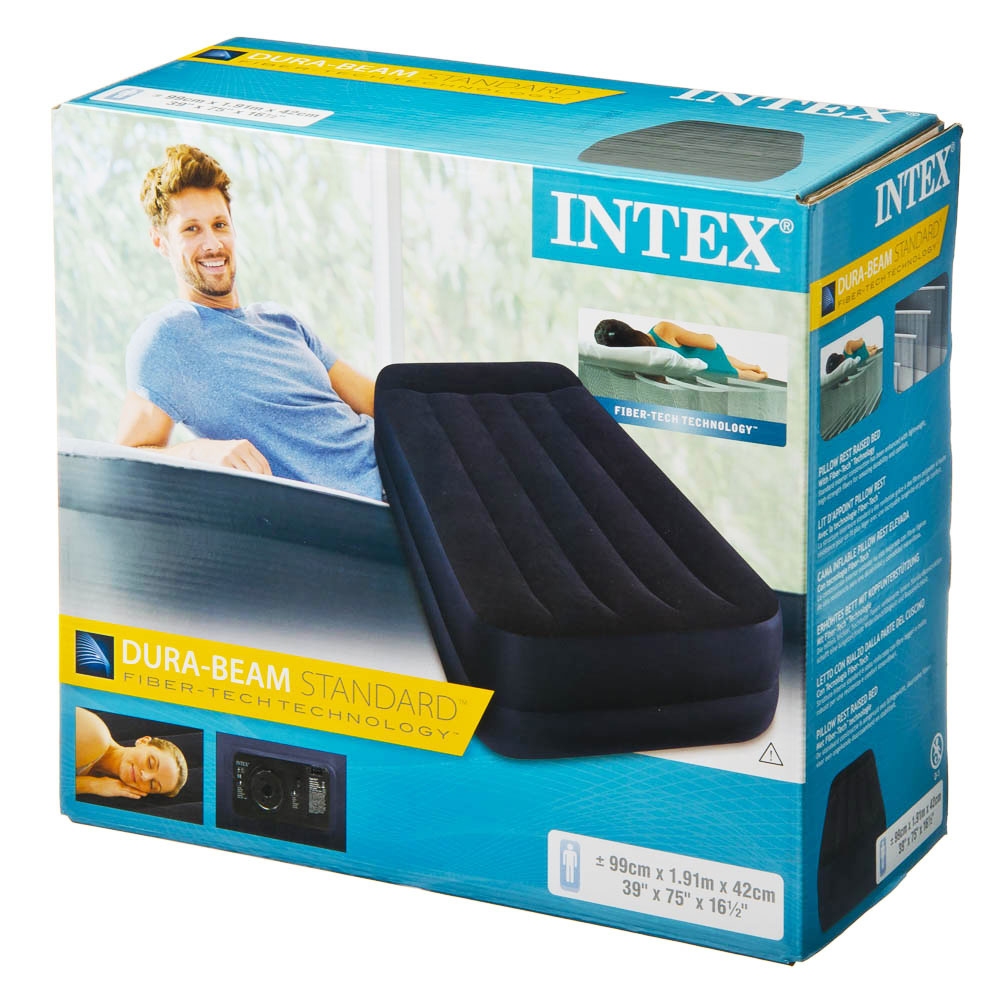 Матрас надувной INTEX Твин 99х191х42см, встроенный электронасос, 64122