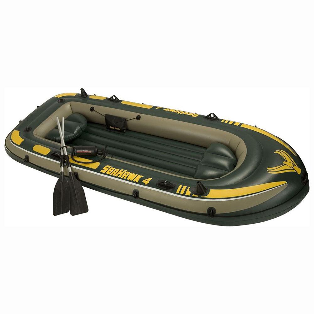 Набор: лодка 68350, плюм 122 см, алюм.весла, насос, 351х145х48 см, INTEX Морской сокол 4, 68351