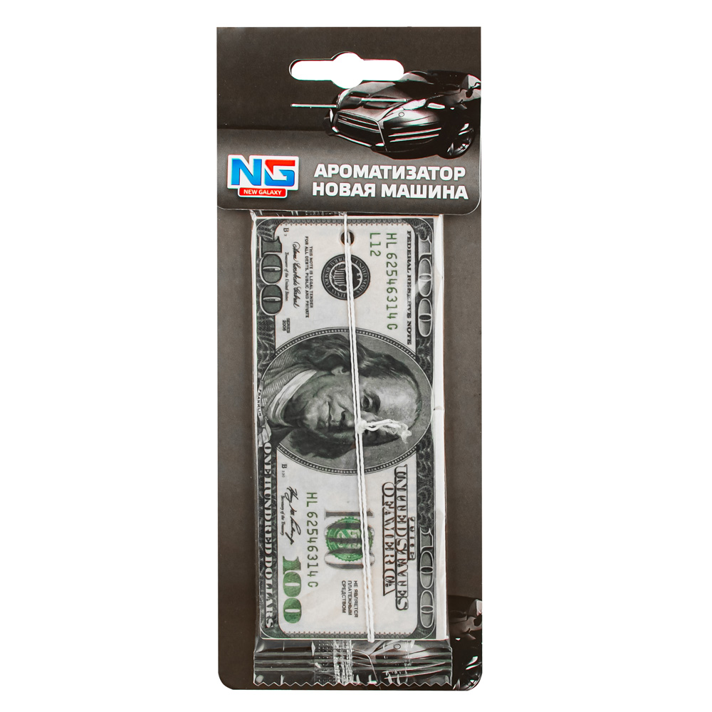 """Автомобильный ароматизатор бумажный, аромат новая машина, """"Деньги 100 Долларов"""" NEW GALAXY"""