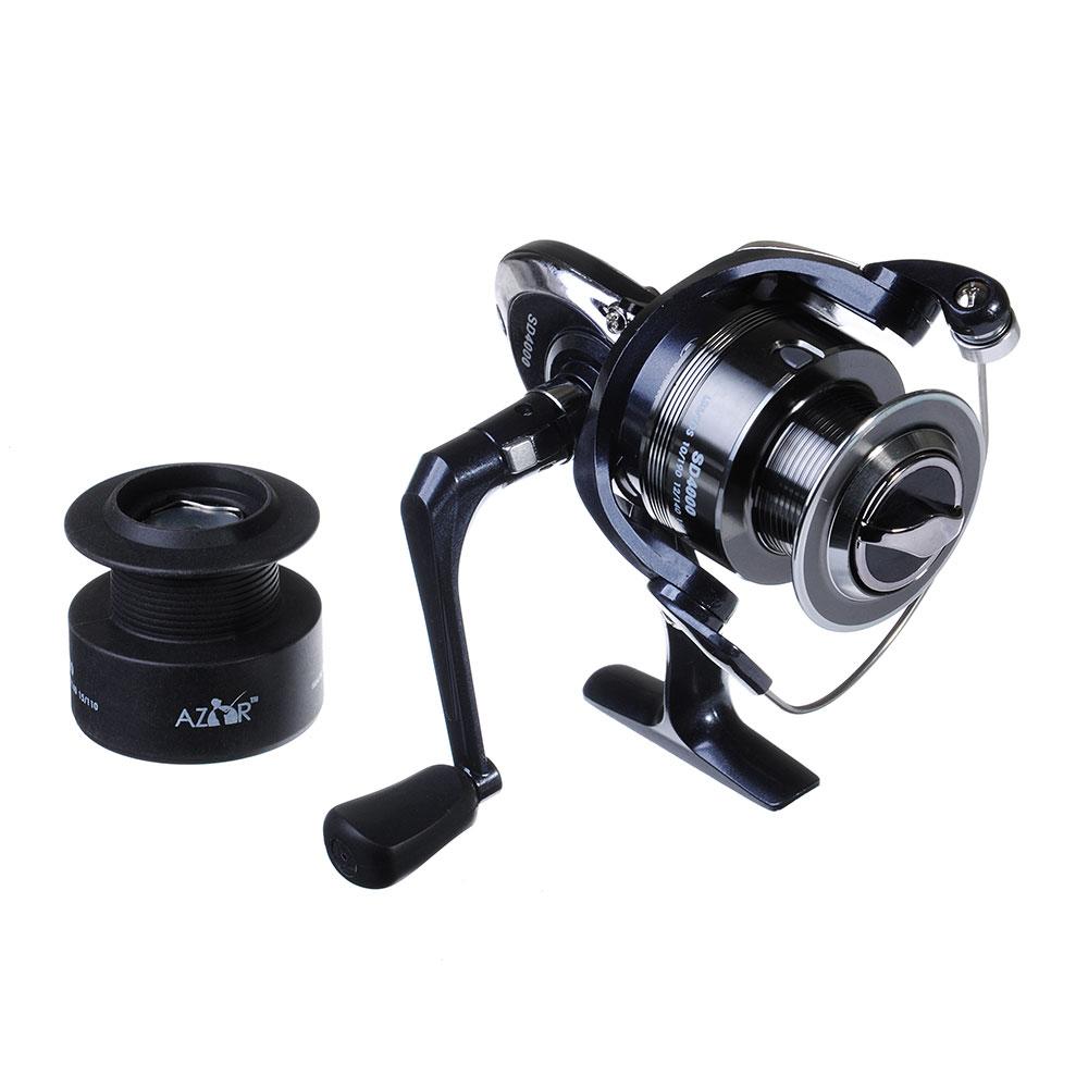 AZOR  FISHING Катушка безынерционная SD 4000, 5+1 п.п, перед фрикцион (2 шпули: металл, пластик)